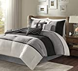 Madison Park Palisades Comforter Set Modern Faux Suede Pieced Stripe Design, All Season Down Alternative Cozy Bedding with Matching Shams, Decorative Pillows, Full/Queen(90'x90'), Black 7 Piece