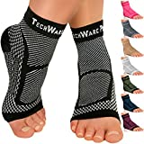 TechWare Pro Ankle Brace Compression Sleeve - Relieves Achilles Tendonitis, Joint Pain. Plantar Fasciitis Foot Sock with Arch Support Reduces Swelling & Heel Spur Pain. (Black, L/XL)