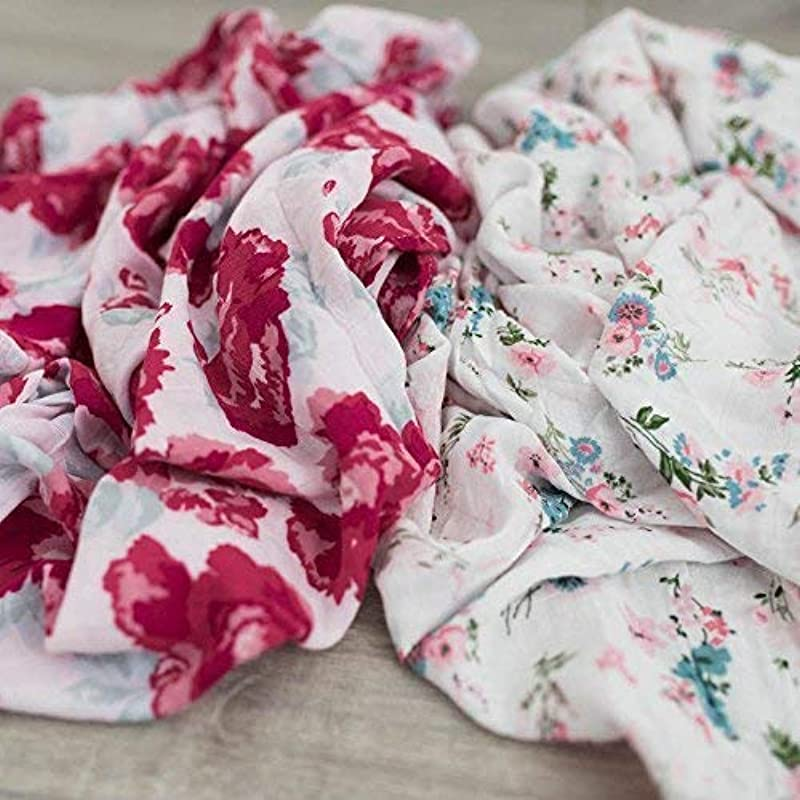 2 Pack Softest Bamboo Muslin Swaddle Blankets For Baby 70 Bamboo 30 Cotton XL 47 X 47 By Graced Soft Luxuries Floral Garden