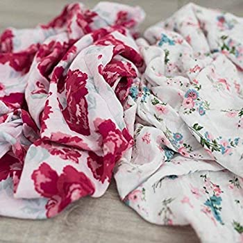 2 Pack Softest Bamboo Muslin Swaddle Blankets for Baby 70% Bamboo 30% Cotton XL 47 x 47  by Graced Soft Luxuries  Floral Garden