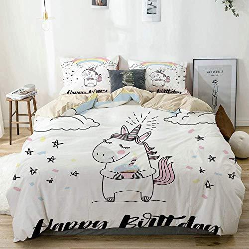 Juego de funda nórdica beige, letras a mano, celebración alegre de cumpleaños con dibujo de estrellas y confeti, juego de cama decorativo de 3 piezas con 2 fundas de almohada, fácil cuidado, antialérg
