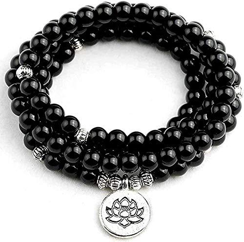 Collar para Mujer Hombre Collar Diseño Lotus Charm Colgante elástico 108 Piezas Pulsera de cordón de Piedra Negra Brillante Hombres Mujeres JoyeríaCollar Colgante Niñas Niños Regalo