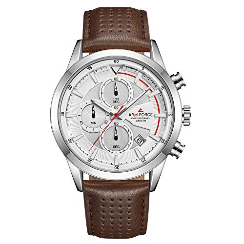Reloj de Pulsera con cronógrafo para Hombre - Relojes multifunción con Esfera de Zafiro de Acero Inoxidable-E