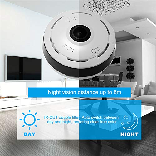AUSHA® Wireless Wi-Fi CCTV IP Camera for Home with Wi-Fi Mobile Connect Live Remote Viewing, Night Vision, 360 Degree View, Two Way Audio, Motion Detection