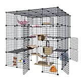 Eiiel Large Cat Cage Indoor Cat Playpen Metal Wire Kennels Crate Small Animal Cage for Kitten Guinea Pig, Bunny and Chinchilla Ideal for 1-4 Cats, 55L x 55W x 55H Inch