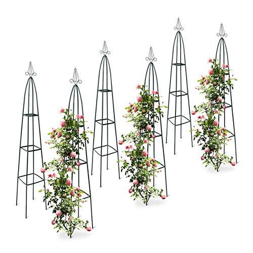 Relaxdays 6X Rankturm, Garten Obelisk, freistehende Rankhilfe für Kletterpflanzen, Ranksäule, Metall, HBT 192 x 35 x 35 cm, grün