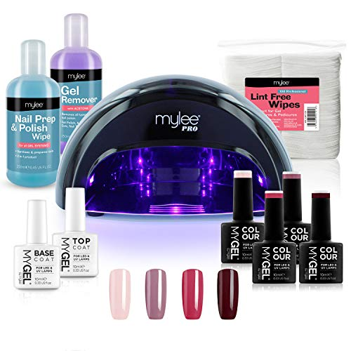 Mylee Complete Professional Gel Nail Polish LED Lamp Kit, 4x MYGEL Colours, Top & Base Coat, Mylee...