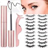 Roiii Magnetic Eyeliner and Lashes Kit, Magnetic Eyeliner for Magnetic Lashes Set, With Reusable 5Pair Lashes (10 Pair)