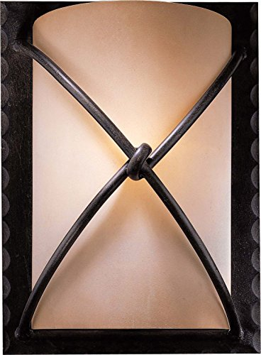 Minka Lavery Wall Sconce Lighting 1972-138, Aspen II Glass Damp Bath Vanity Fixture, 1 Light, 100 Watts, Bronze