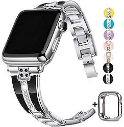 Silver Diamond Rhinestone Metal Jewelry Wristband Strap for iwatch