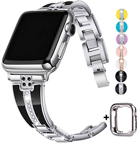 JSGJMY Bling Bands Compatible with Apple Watch Band 38mm 40mm 42mm 44mm with Case,Women Diamond Rhinestone Metal Jewelry Wristband Strap for iwatch Series SE/6/5/4/3/2/1 (Silver, 42mm/44mm)