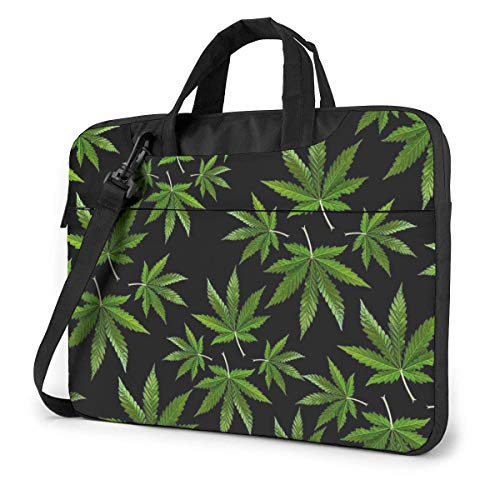 Hemp Leaves Laptop Shoulder Bag 15.6 Inch Laptop Messenger Case Laptop Sleeve Carrying Case with Strap
