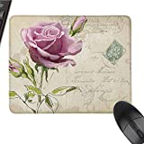 Rose Waterproof Mouse pad Vintage Postcard Design with Delicate Rose Blossom Hand Drawing Artsy Print Suitable for Any Type of Mouse W12 x L27.5 x H0.8 Inch Tan Pale Pink Green