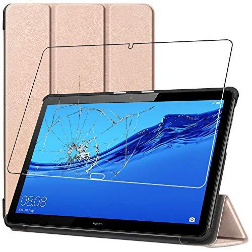 ebestStar - kompatibel mit Huawei MediaPad T5 10 Hülle Tablet 10.1 Smart Cover [Ultra Dünn] Schutzhülle Etui, Schutz Hülle Ständer Hülle, Gold + Panzerglas Schutzfolie [T5 10.1: 243x164x7.8mm, 10.1'']