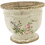 Maceta con diseño romántico de rosas, color crema y rosas, estilo shabby chic, nostálgico antiguo (maceta tamaño M)