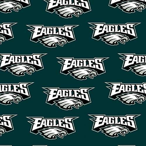 "Philadelphia Eagles Football Green Sheeting Fabric Cotton 5 Oz 58-60"""