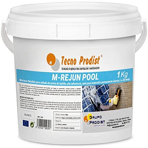 M-REJUN POOL de Tecno Prodist - (1 kg) Mortero flexible para sellado de juntas de baldosas y gresite en piscinas, ceramica, ladrillo, etc, apto para inmersión permanente (Junta 2 a 20 mm) Color Blanco
