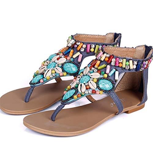 QLBF Sandalias de verano para mujer Casual Cómodas Sandalias for las mujeres cómoda sandalia de la plataforma calza los zapatos de la playa del verano Viajes étnicas Estilo de los zapatos Mujer sandal