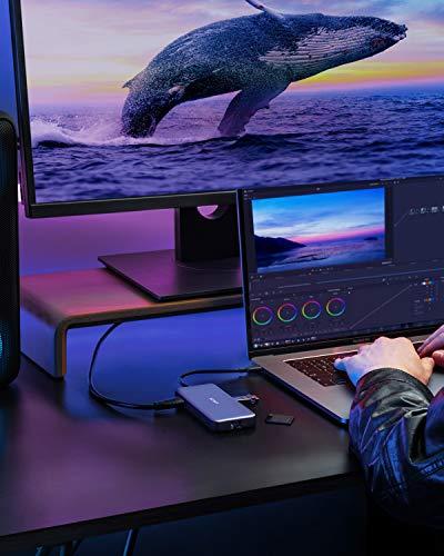 Anker 8-in-1 USB-C Hub, PowerExpand USB-C Adapter, 100W Power Delivery, 4K 60Hz HDMI, 10Gbps USB-C & 2 USB-A Datenports, Ethernet-Port, microSD & SD Speicherkartenleser, für MacBook Pro und mehr