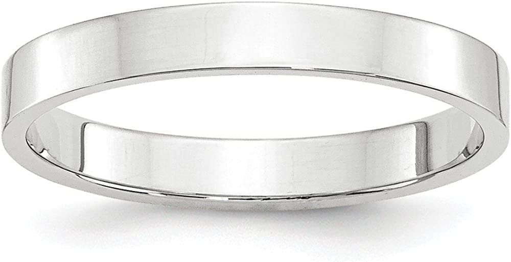 Solid 14k White Gold 3mm Flat Wedding Band