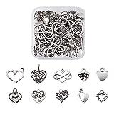 Pandahall 100pcs Tibetan Style Heart Alloy Pendants 9.5-18 x 9.5-17mm 10 Style Antique Silver Sweet Heart Charms for DIY Earring Bracelet Jewelry Making
