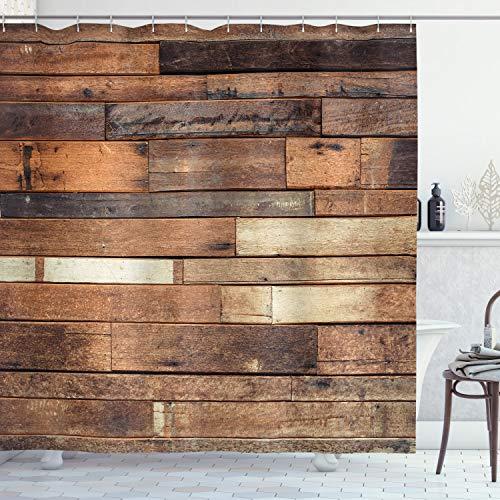 ABAKUHAUS Houten Douchegordijn, Bruine Rustieke Floor Look, stoffen badkamerdecoratieset met haakjes, 175 x 200 cm, Bruin