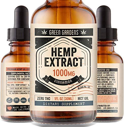 Hemp Oil Extract 1000mg for Anxiety, Pain, Stress Relief - Help with Mood, Sleep, Inflammation, Skin, Hair - 100% Pure Organic Hemp Extract Drops - USA Grown & Made
