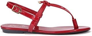 Sandália Rasteira Envernizado Vermelho