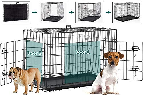 BMS Dog Crate Dog Kennel for Large Medium Dog Crate Folding Metal Dog Crate Indoor/Outdoor Double Door Travel Metal Dog Crate with Plastic Tray (42 inch)