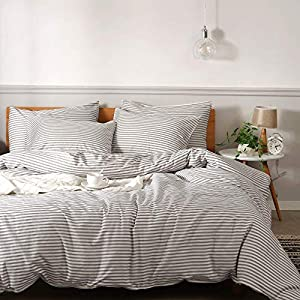 JELLYMONI 100% Natural Cotton 2pcs Striped Duvet Cover Sets,White Duvet Cover with Grey Stripes Pattern Printed…
