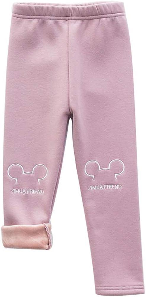 Digirlsor Toddler Girl Winter Warm Sweatpants Kids Cotton Elastic Waist Soft Pants Fleece Lined Leggings Tights,2-7Y