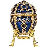 huevo ruso de Estilo Faberge / caja de joya Capullo de rosa con flor y colgante 9,5 cm azul