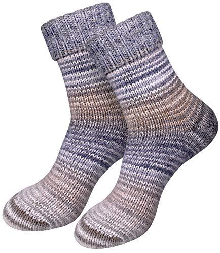 dunaro 2 Paar gestrickte Norweger-Socken Wollsocken Wintersocken kuschelig warm Damen Herren (2 Paar / 43-46 Grau-Beige)