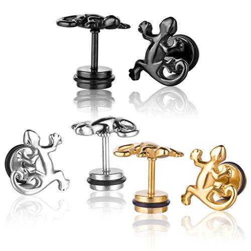 Yumilok Jewelry 6 Pcs Mens Womens Stainless Steel Gecko Lizard Stud Earrings Fake Ear Plugs Set, 3 Pairs(Black, Silver, Gold)