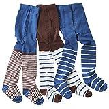WELLYOU leotardos para bebés/niños medias para niñas/niños, pantimedias conjunto de 2 azul/marrón y rayas. tallas 86-146 (86-92)