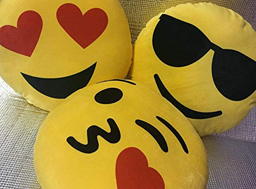KhushiFab Smiley Cushions Pillows (Yellow) Set of 3