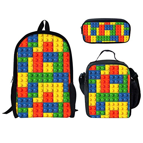 Advocator 3 Sets School Bags+Lunch Bags+Pencil Case for Teens Girls Boys