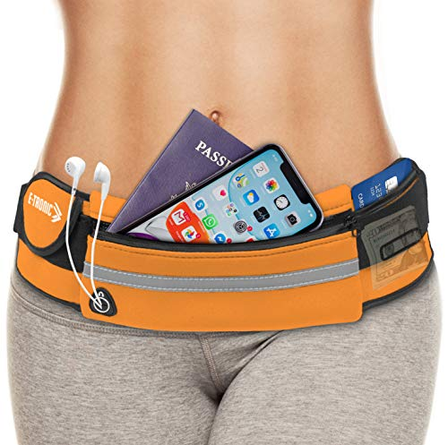 E Tronic Edge Waist Packs: Best Comfortable Unisex Running Belts That Fit All Waist Sizes & All Phone Models for Running, Hiking, Workouts, Cycling, Travelling Money Belt & More, Orange