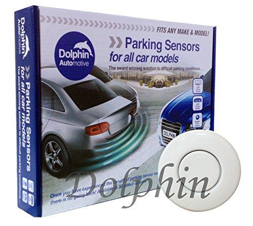 Kit de sensores de estacionamiento trasero Dolphin DPS400, 4 sensores de inversión ultrasónicos, sistema de alerta de audio (pitido) - Blanco