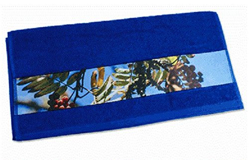 Handtuch mit Foto und Namen oder Wunschtext selbst Gestalten und Bedrucken lassen ✓ Frotteehandtuch ✓ Frottierhandtuch ✓ Baumwolltuch ✓ Saunatuch ✓ Strandtuch ✓ (royalblau, 70 x 140)