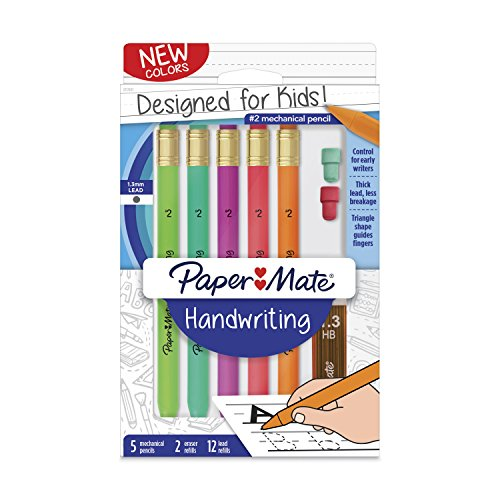 Paper Mate Handwriting Triangular Mechanical Pencil Set with Lead & Eraser Refills, 1.3mm, Fun Barrel Colors, 8 Count (2017483)