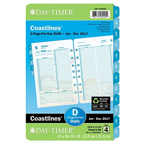 DayTimer Two Page per Day Refill 2017, 12 Months, Loose Leaf, Desk Size, 5.5 x 8.5', Coastlines (13180)
