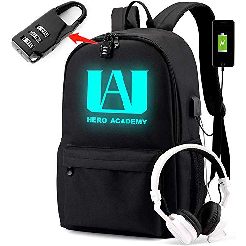 PIESWEETY Luminous Backpack with USB Charging Port and Password Lock Anti Theft Laptop Backpack Unisex Fashion Bookbag Daypack Travel U.A High School Logo Bag (FBM)