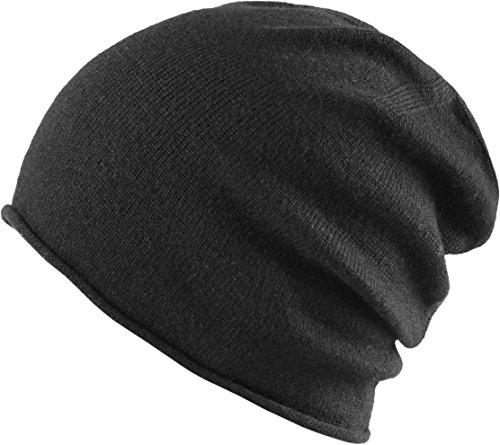 MSTRDS Unisex Cashmere Slouch Beanie Black One Mütze mit 40% Kaschmir für Damen und Herren