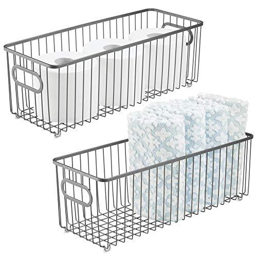 mDesign Deep Metal Bathroom Storage Organizer Basket Bin - Farmhouse Wire Grid Design - for Cabinets, Shelves, Closets, Vanity Countertops, Bedrooms, Under Sinks - 2 Pack - Graphite Gray