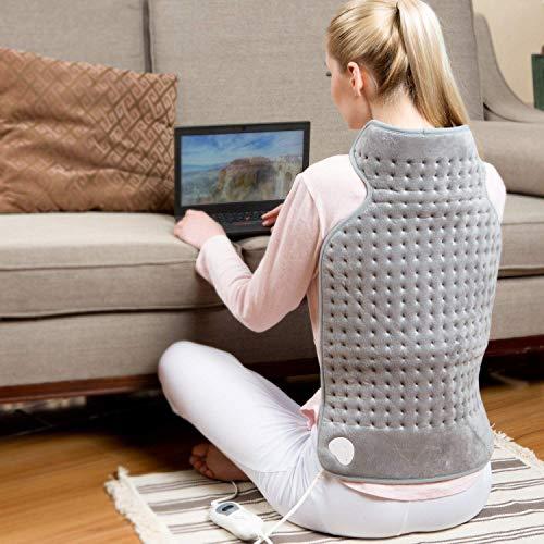 Hangsun Heizkissen Elektrisch Wärmekissen für Rücken Nacken Schulter Elektrisches mit Abschaltautomatik und 6 Temperaturstufen, Überhitzungsschutz, waschbar, 63x42cm