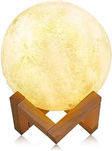 LUZ LED 16 cm Impresión 3D Control de APLICACIÓN móvil Lámpara Elegante de la Luna Luz de la Noche del Ahorro de energía LED con el Soporte de Madera Base, Ayuda Alexa y Tmall Elf