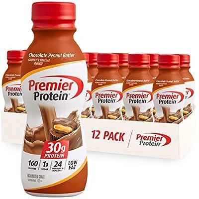 Premier Protein Shake, Chocolate Peanut Butter, 30g Protein, 1g Sugar, 24 Vitamins & Minerals, Nutrients to Support Immune Health, 11.5 Fl Oz, 12 Count