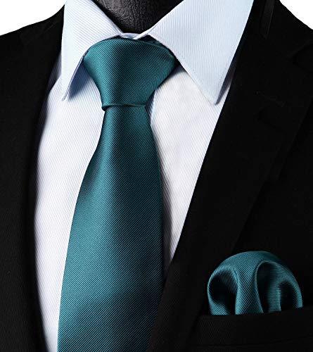 Enlision Corbata cuadrada de color verde azulado y corbata c