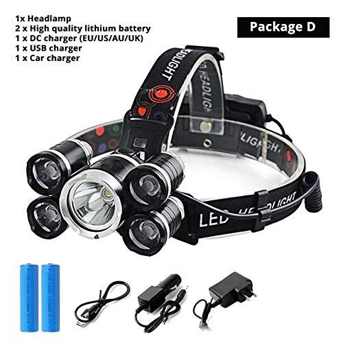 QUETHIKKSuper Bright 5xT6 LED-Scheinwerfer 4 Modi LED-Scheinwerfer Outdoor-Suchscheinwerfer Angeln Licht Camping Licht Verwenden Sie 2 X 18650 Batteriepaket D